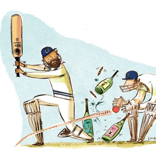 Watercolor painting of playing cricket with wine bottles