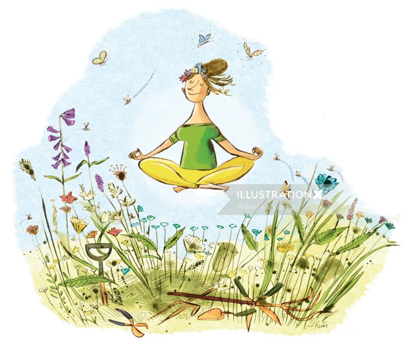 Girl doing meditation watercolor painting