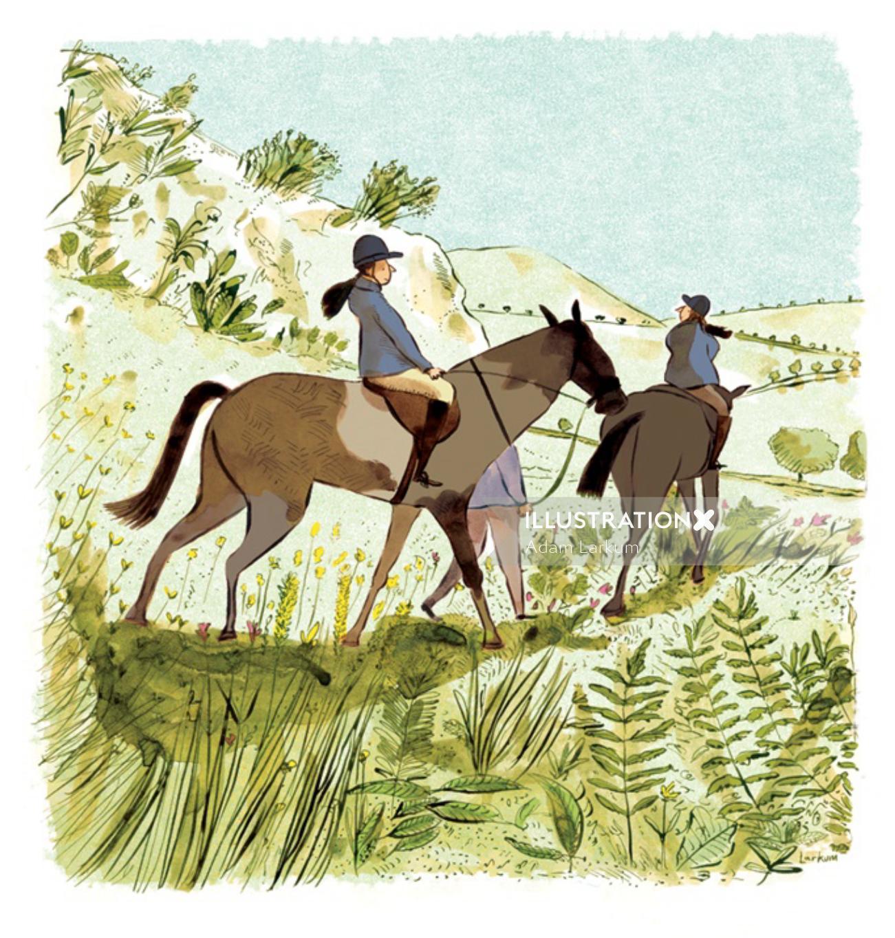 Graphic design of horse riding