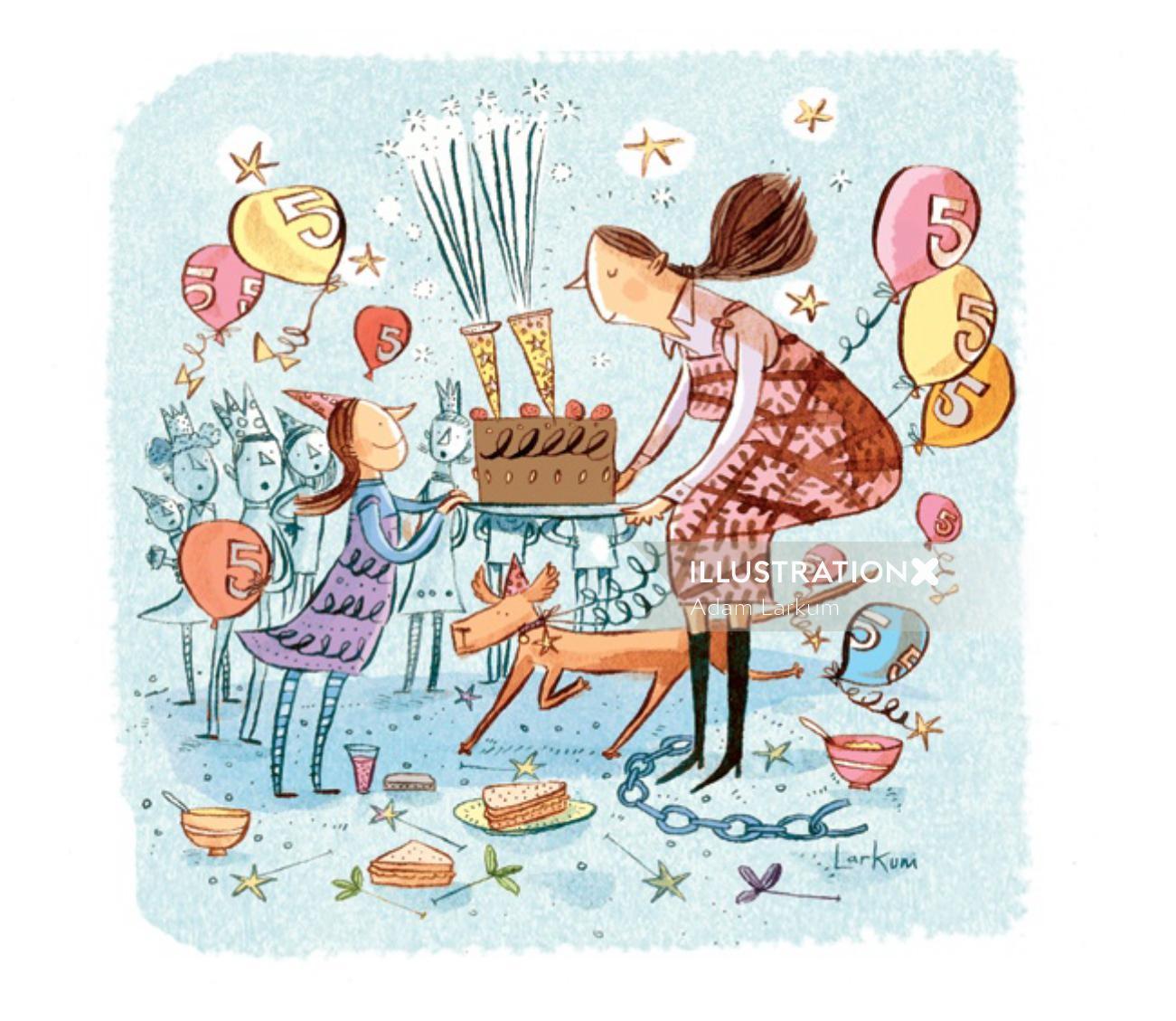 Birthday celebration illustration for Sunday Telegraph