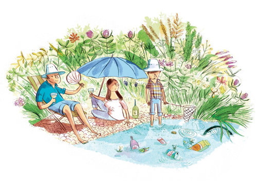 Summer vacation editorial art for Sunday Telegraph