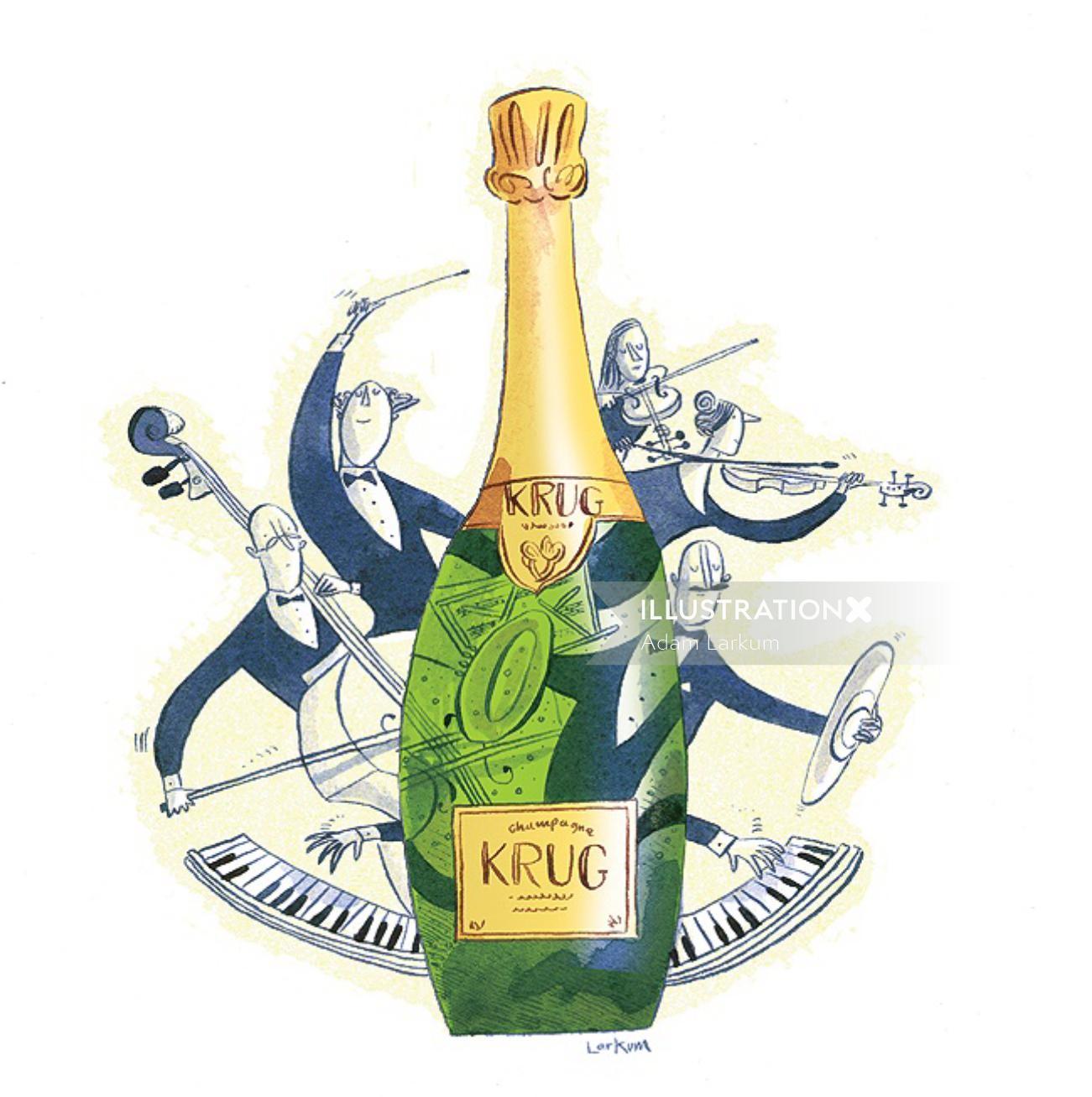Saturday Telegraph kurg wine section illustration
