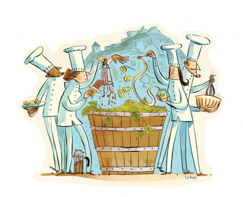 Editorial illustration of wine making