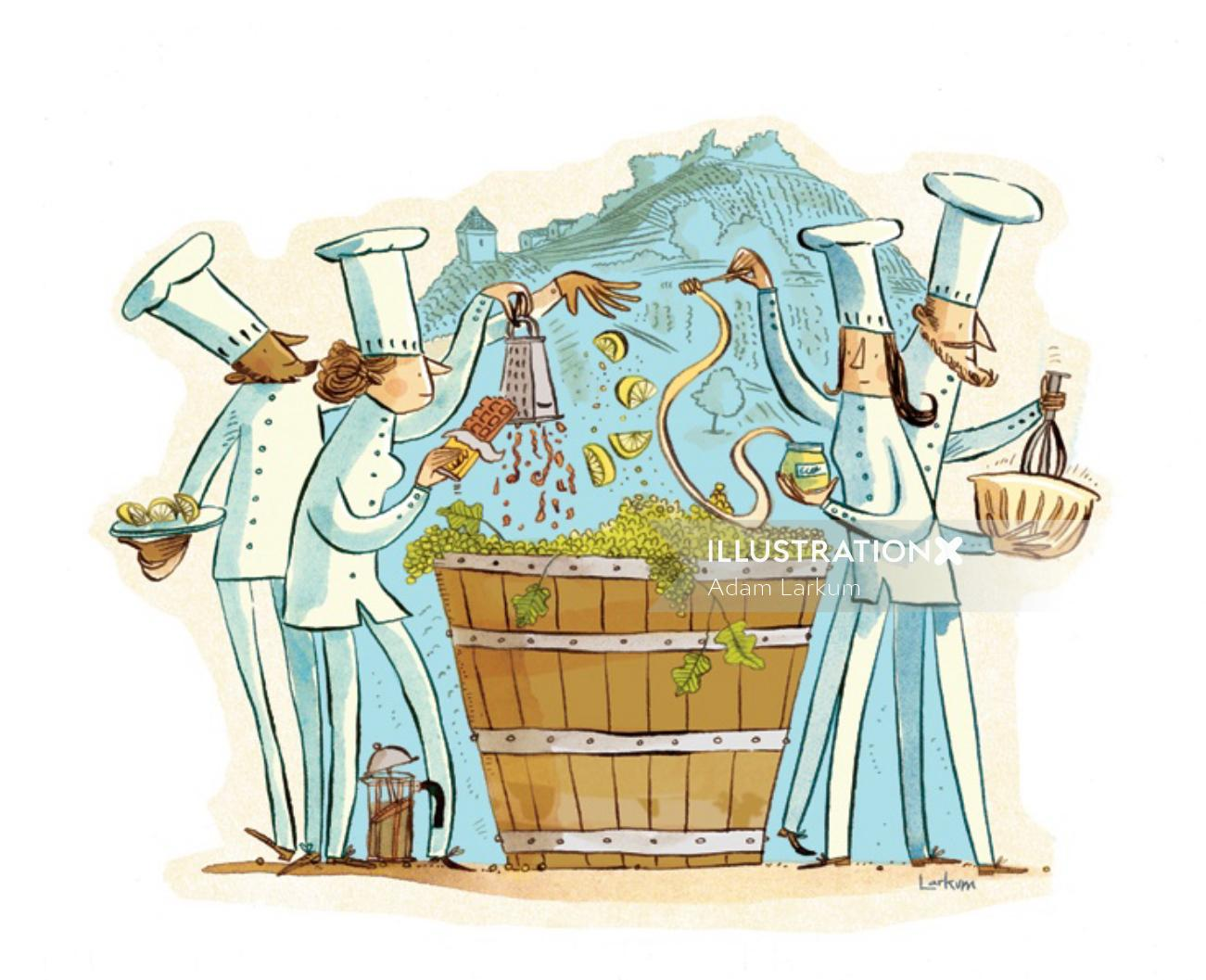 Editorial illustration of wine making