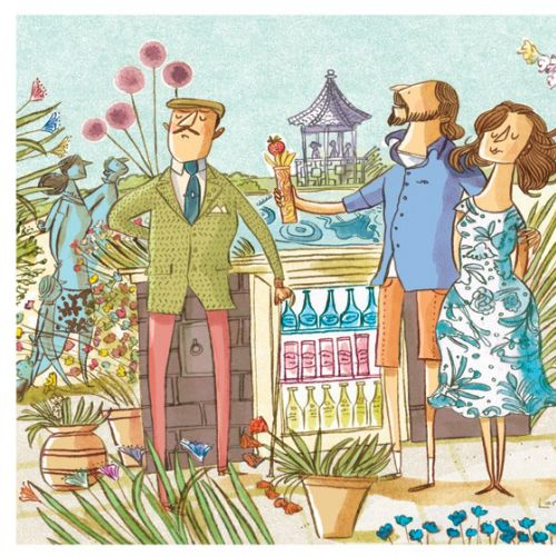 Flower shop editorial illustration for Sunday Telegraph