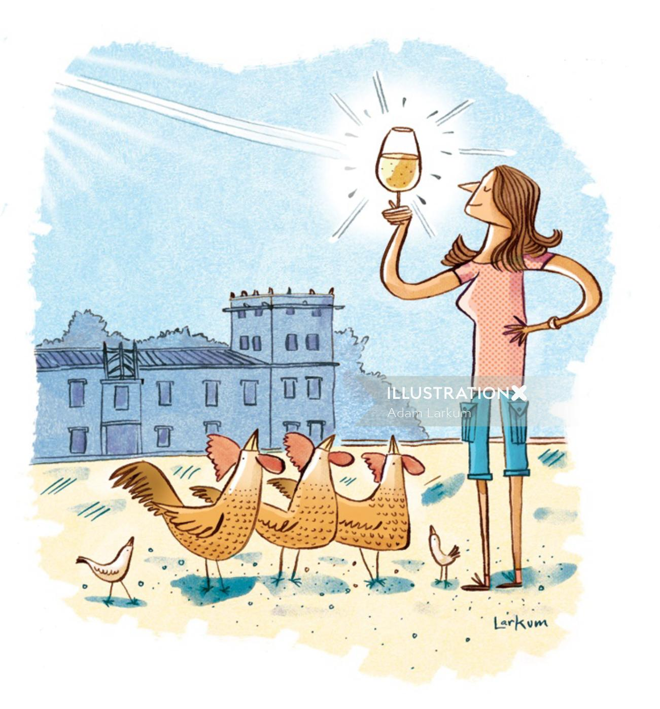 Line art of girl drinking wine