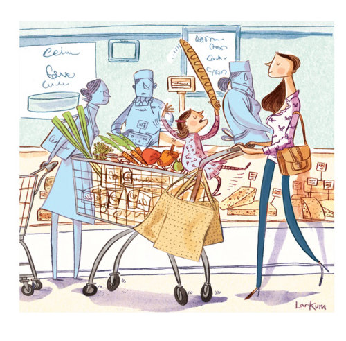 Watercolor painting of buying vegetables for Sunday Telegraph
