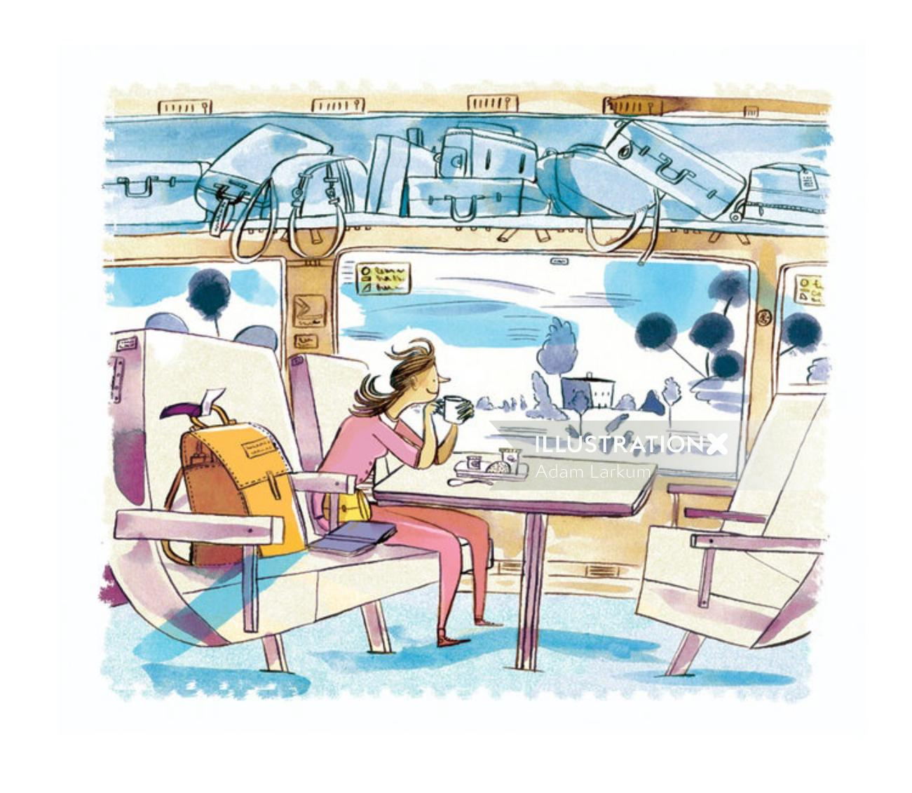 Editorial art of traveling on train for Gulfshore Life magazine