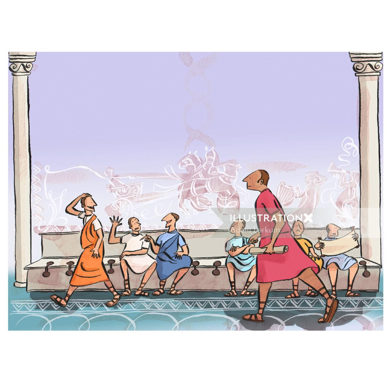 Roman people sitting together