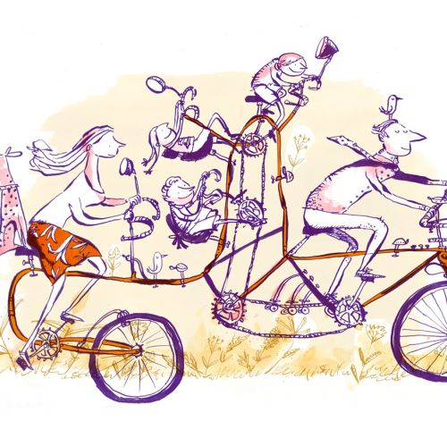 Line Art of Boys and Girls riding bicycle