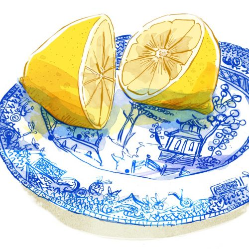 Watercolor painting of cutting lemons