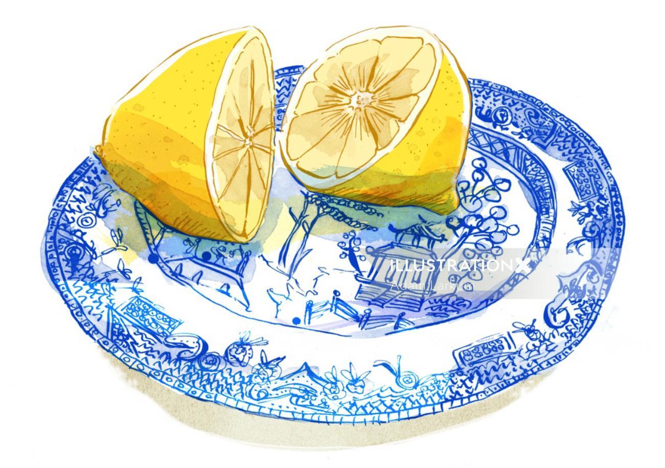 Watercolor painting of cutting lemons