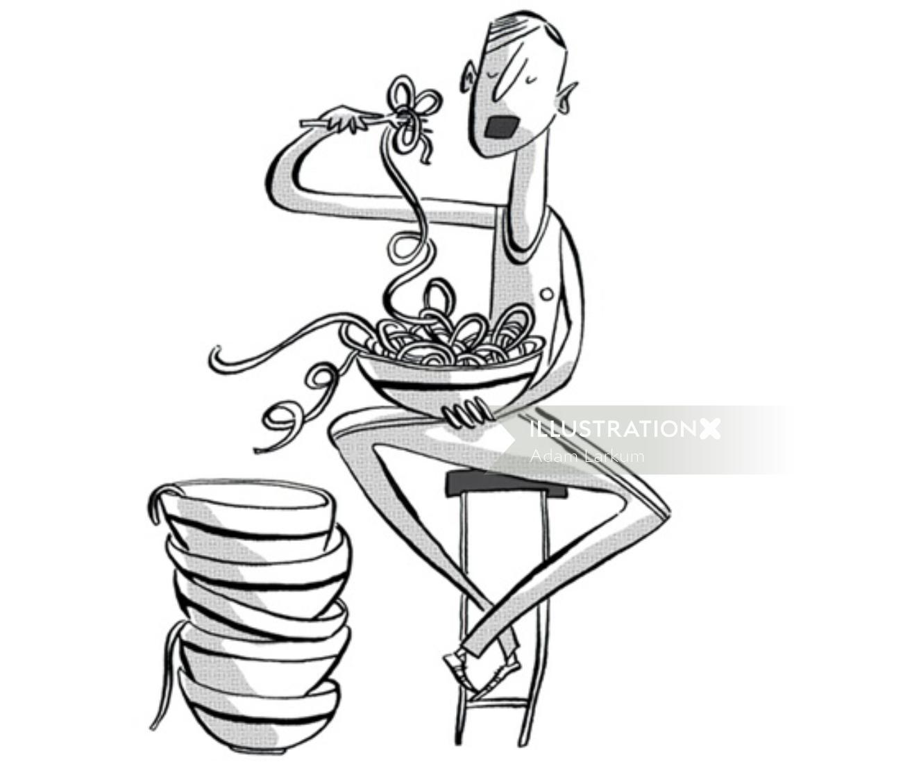 Line art of eating noodles