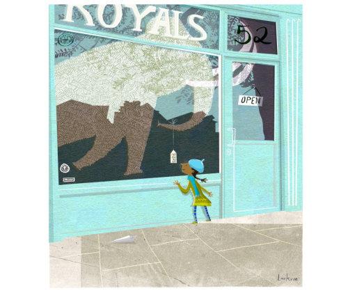 woman looking an Elephant at Royal illustration
