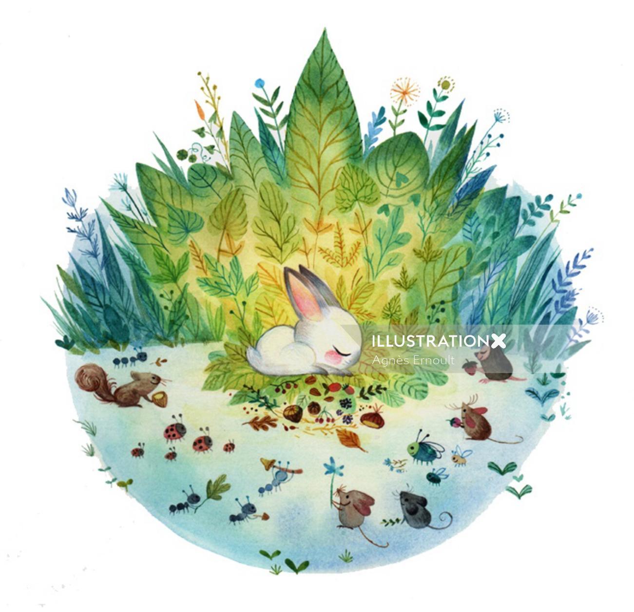 Children book watercolour art The Rabbit