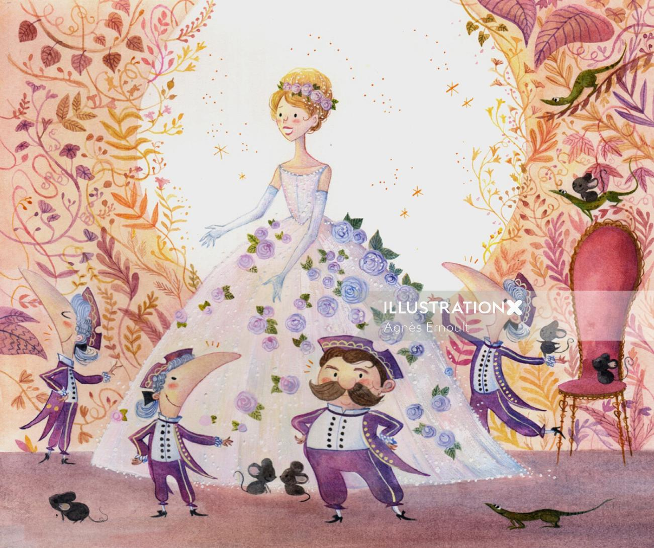 Painting of Cendrillon for Magnard Jeunesse.