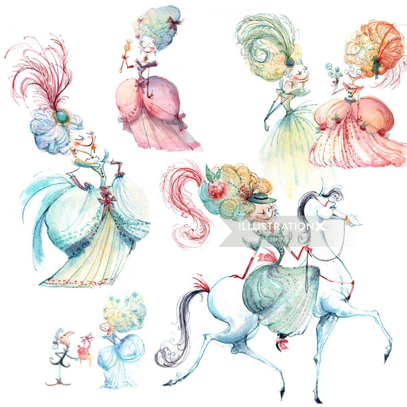 Princesses character design sketches for Marmaille & Compagnie