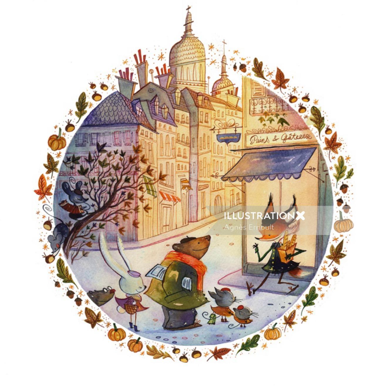 Autumn in Montmartre watercolour retro art