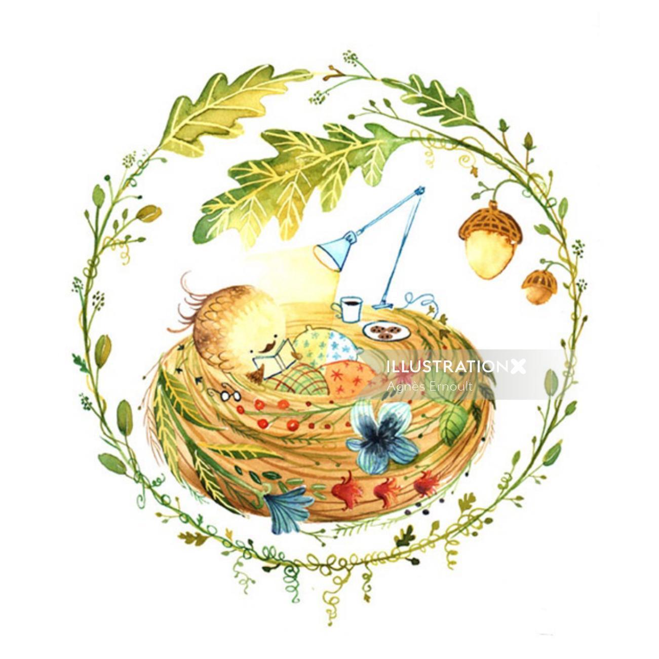 Watercolour art The Nest