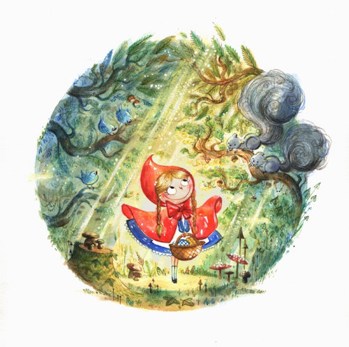 watercolour character art Little Red Riding Hood