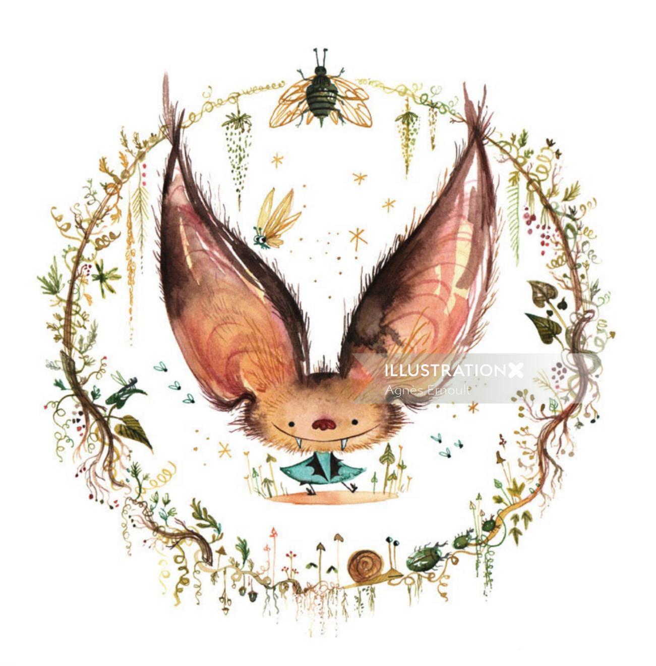 Watercolour sketch Little bat