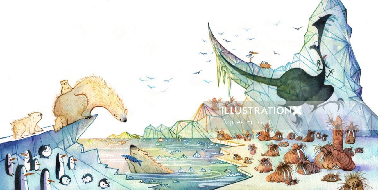 Marmaille & Compagnie Les Dinos Decongeles watercolour art