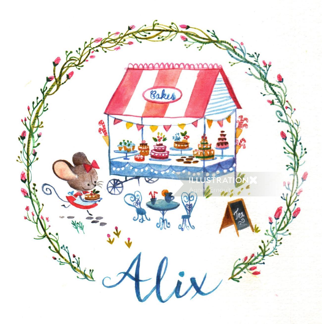 Colour pencil drawing of alix ice cream