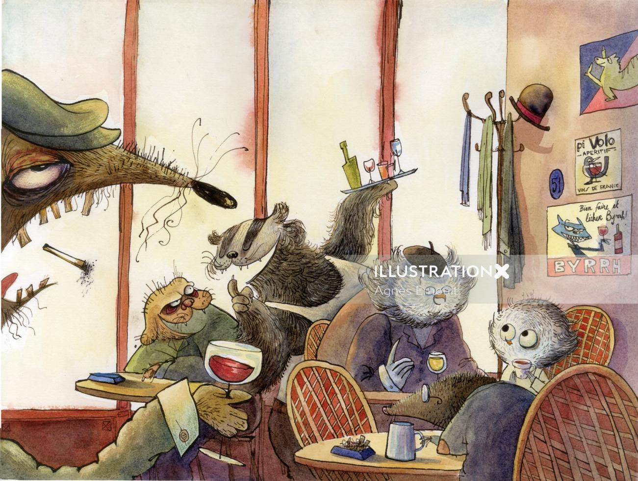Illustration of animal family