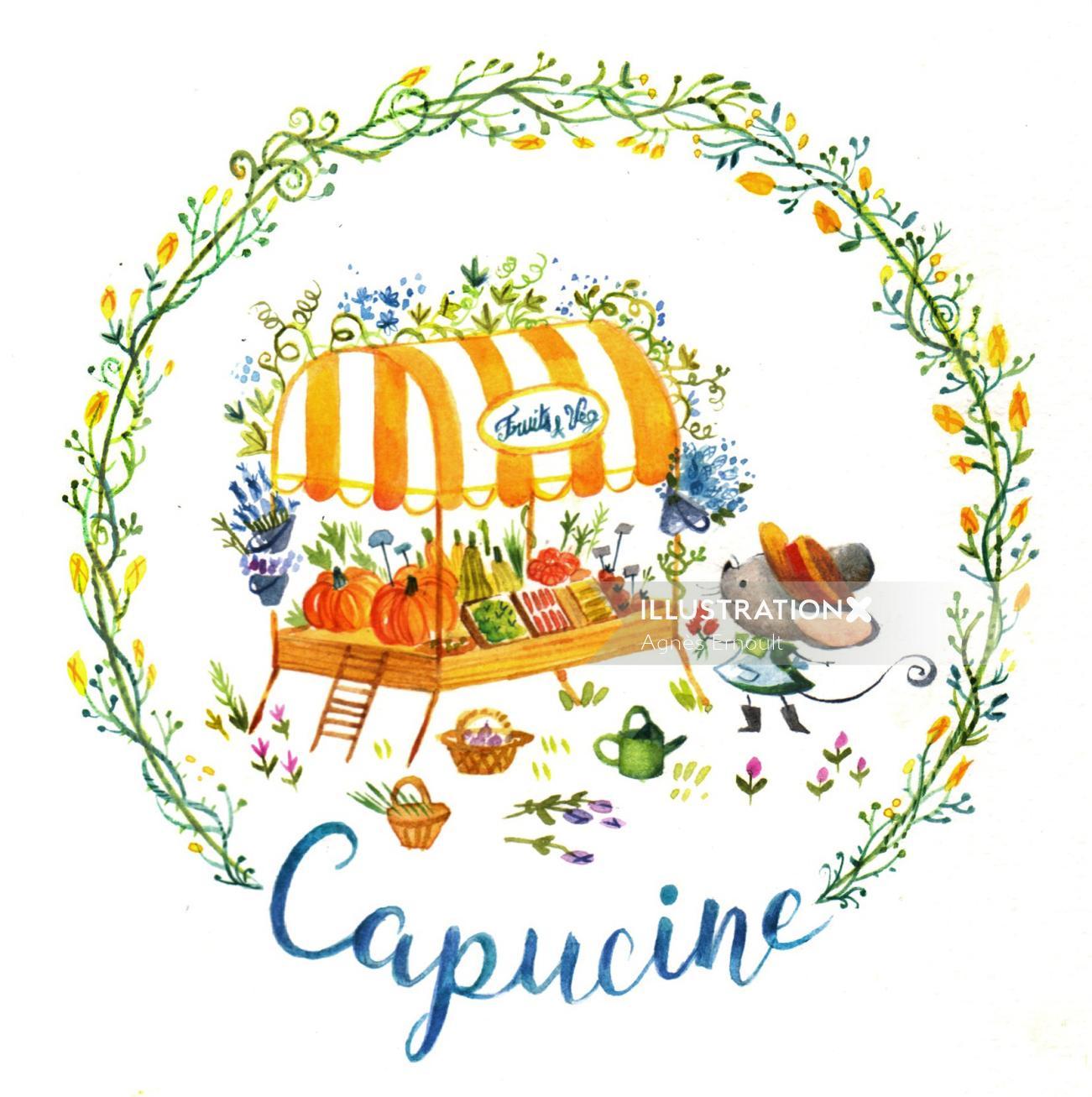 Capucine watercolor painting