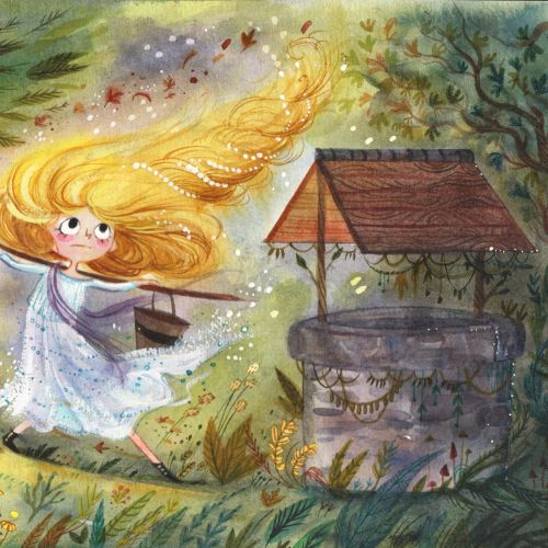 Children's book illustration of yellow fairy tail girl