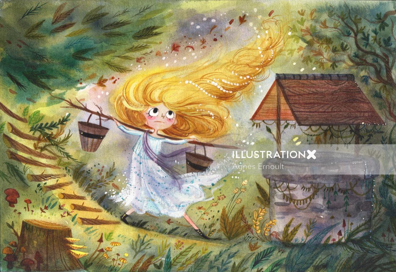 Children's book illustration of yellow fairy tail girl
