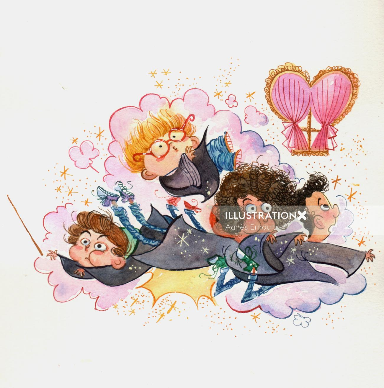Dreaming watercolor illustration
