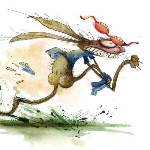 Character design of scary running animal