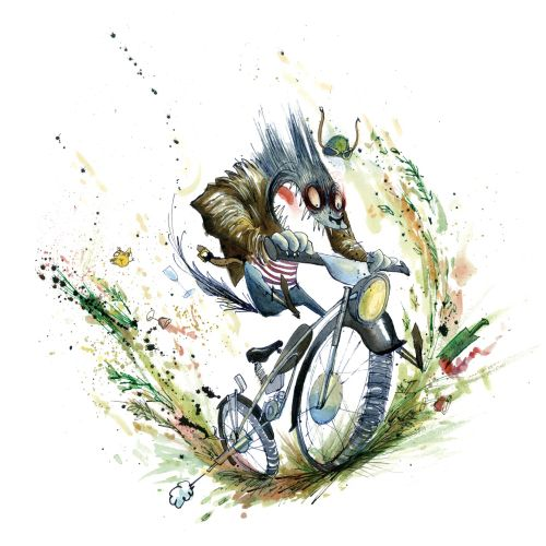 Mouse cycle riding illustration