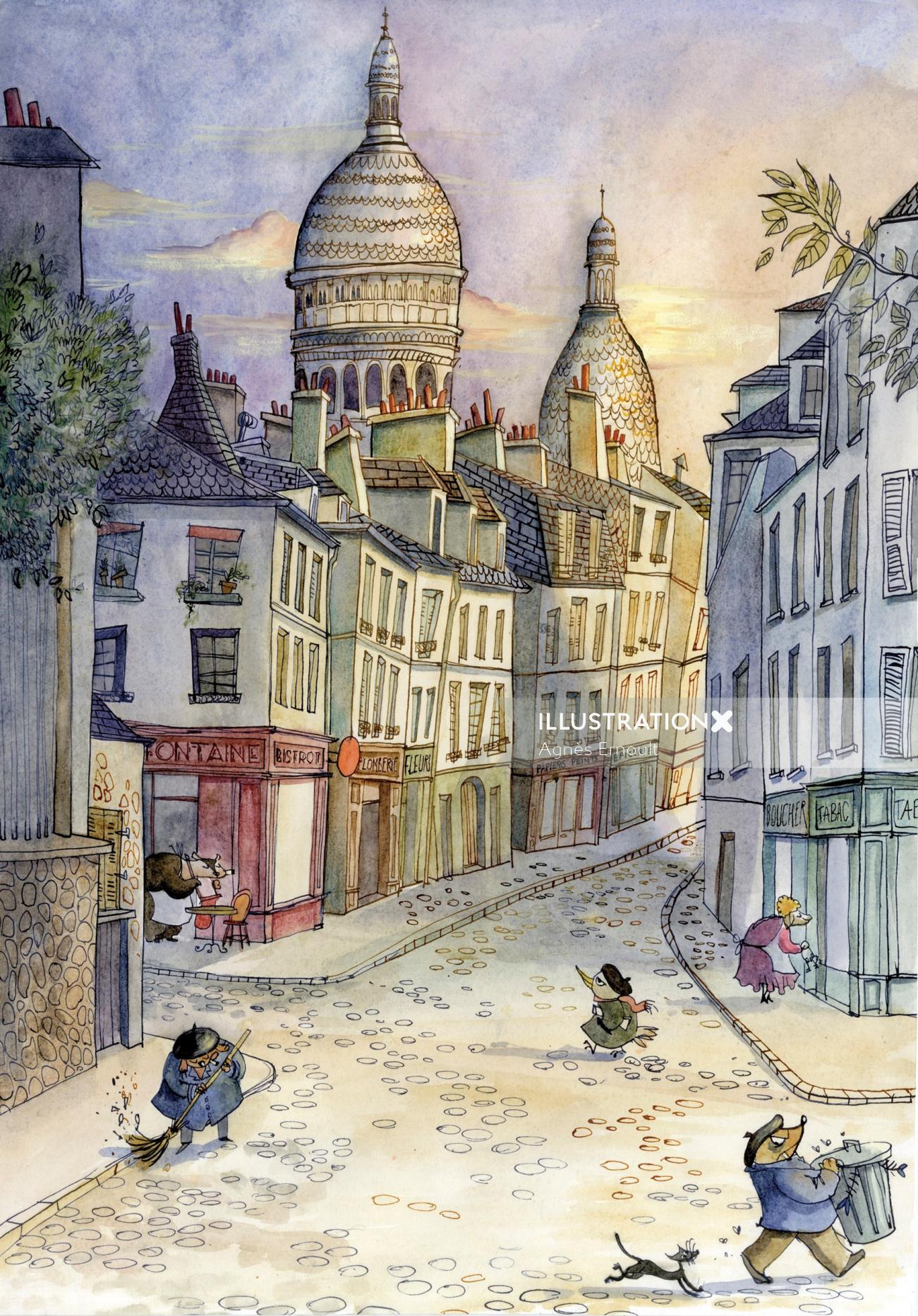 Oil painting of Paris streets