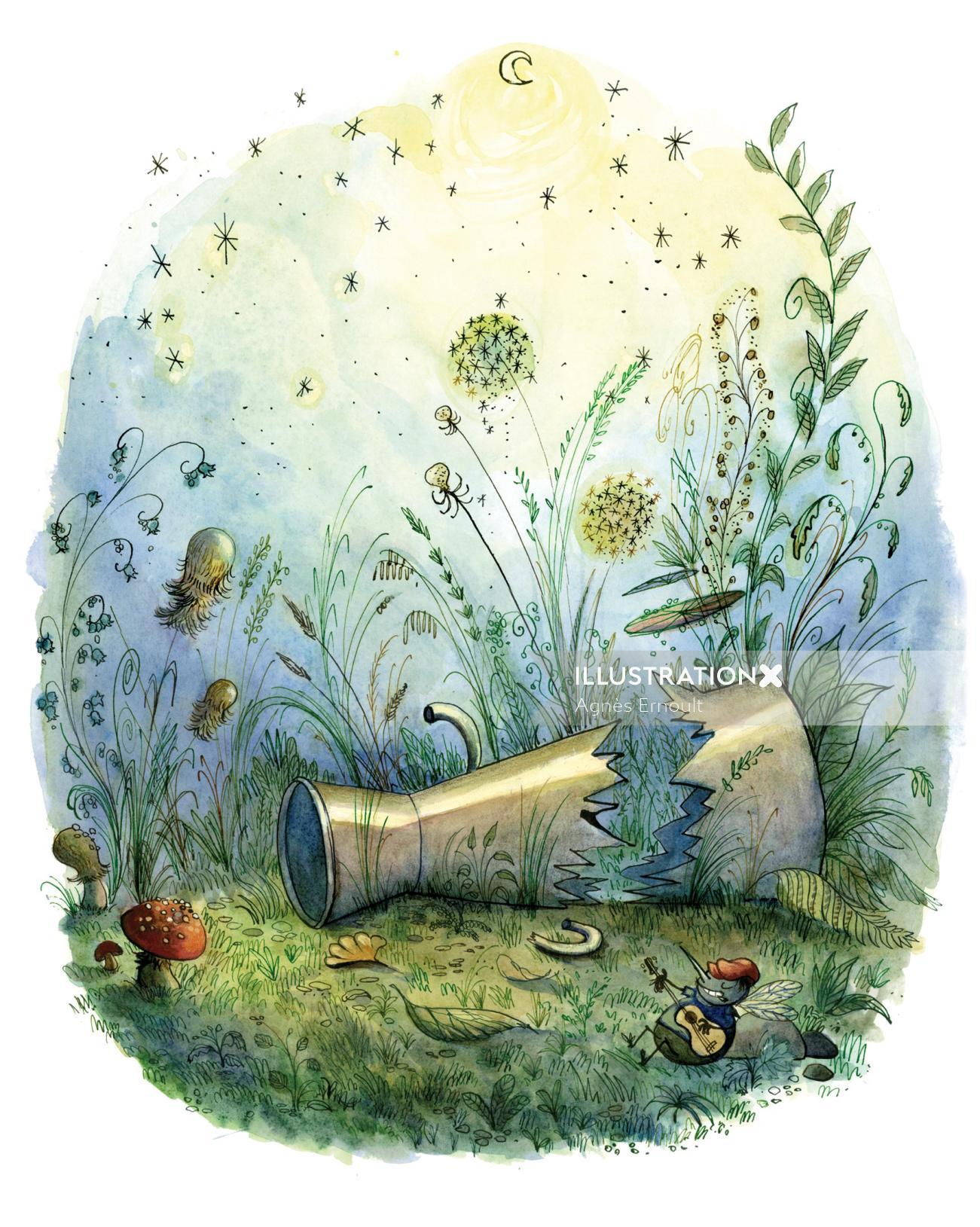 Watercolor painting of treasure under sea