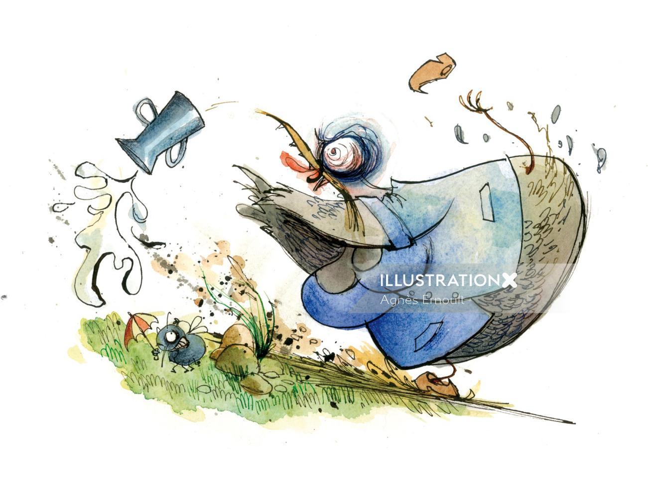 Comic illustration of pig