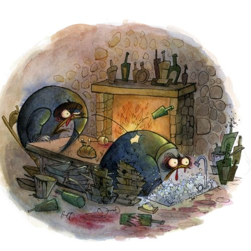 Character design animals sitting near fire place