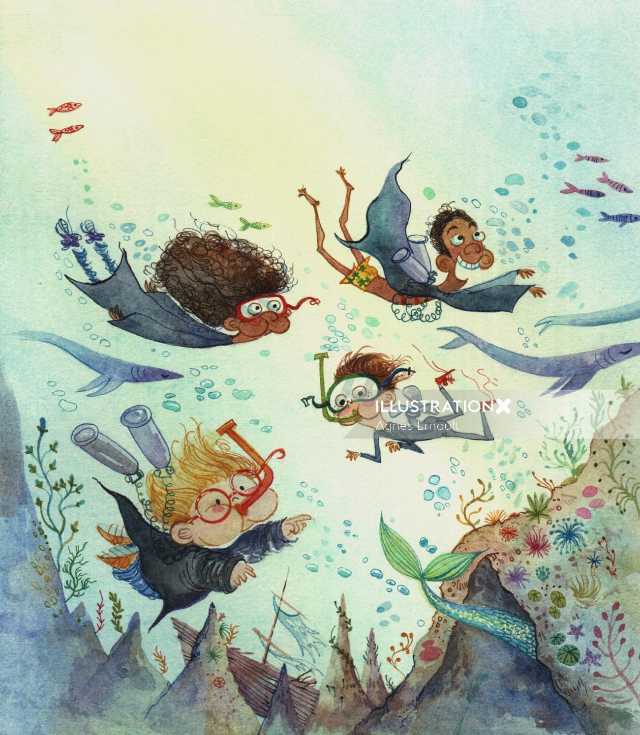 Character design of swimming under sea