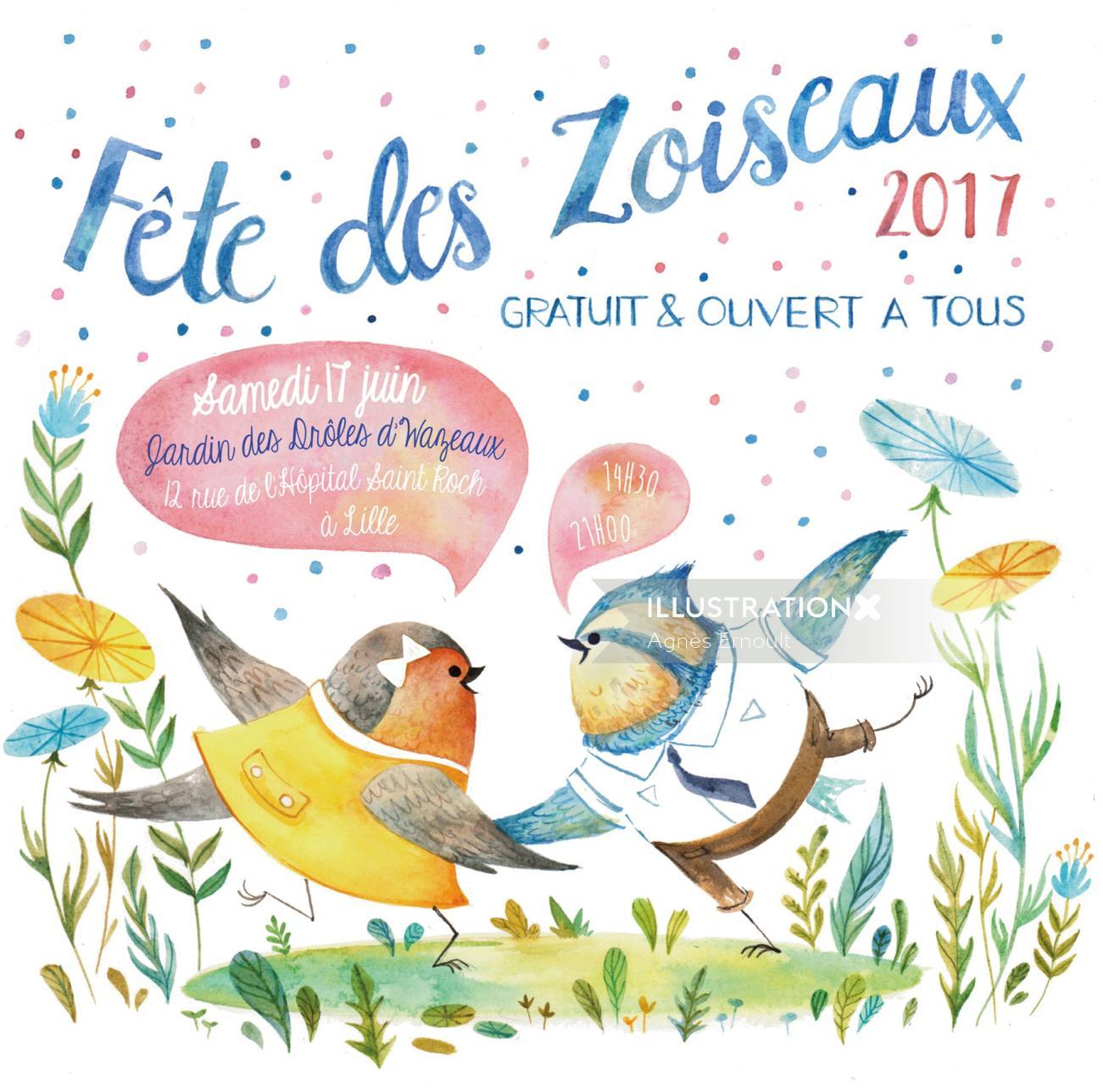 Book cover illustration of Fete Des Zoiscaux