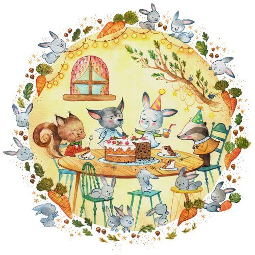 Animal family dinner illustration