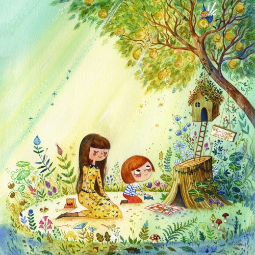 Watercolor painting of The Fairy House for Ladybug Magazine