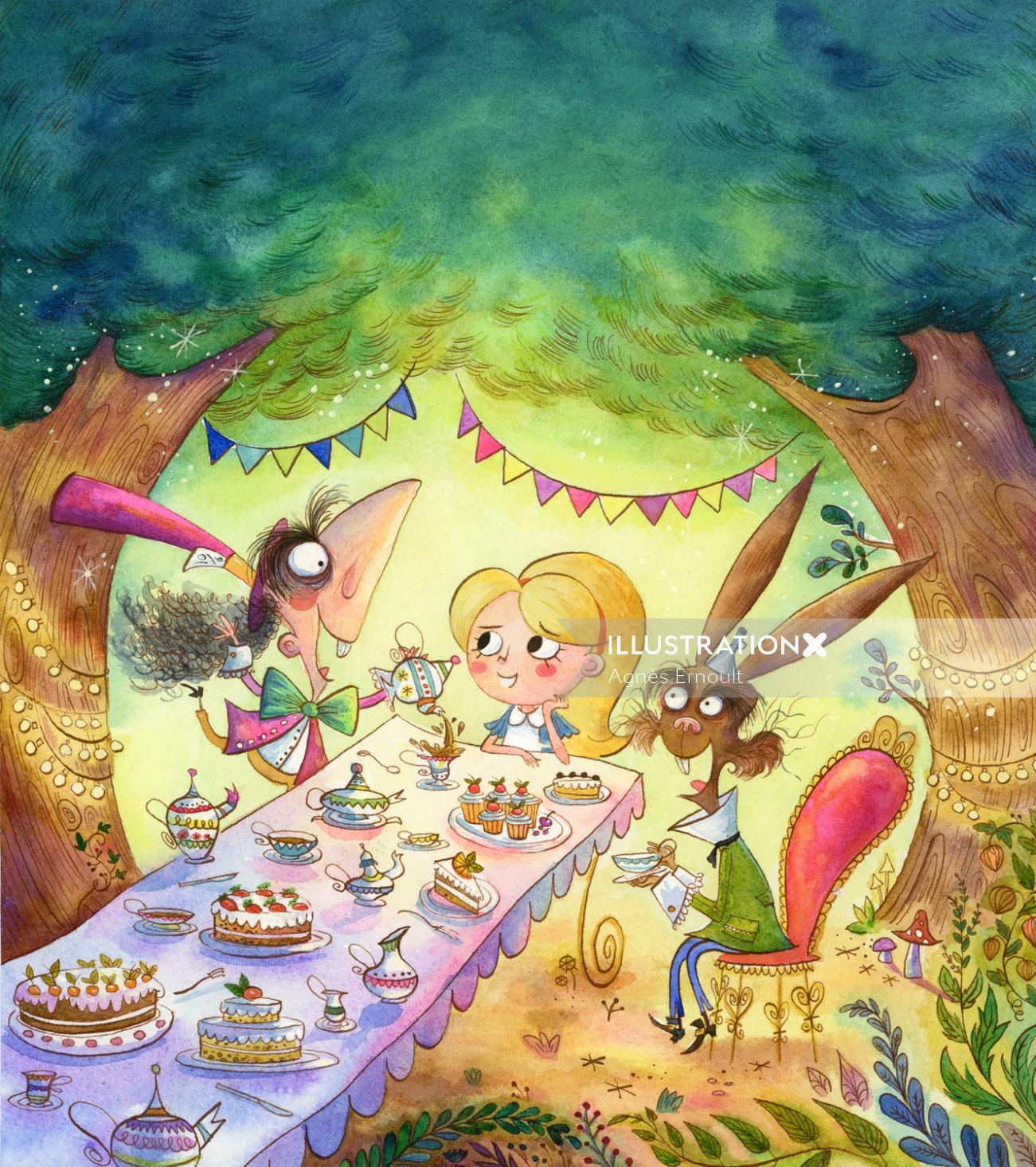 cartoon cover of alice in wonderland for Hinkler Books