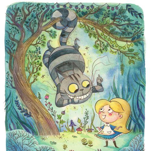 Fantasy children books cover Alice in wonderland