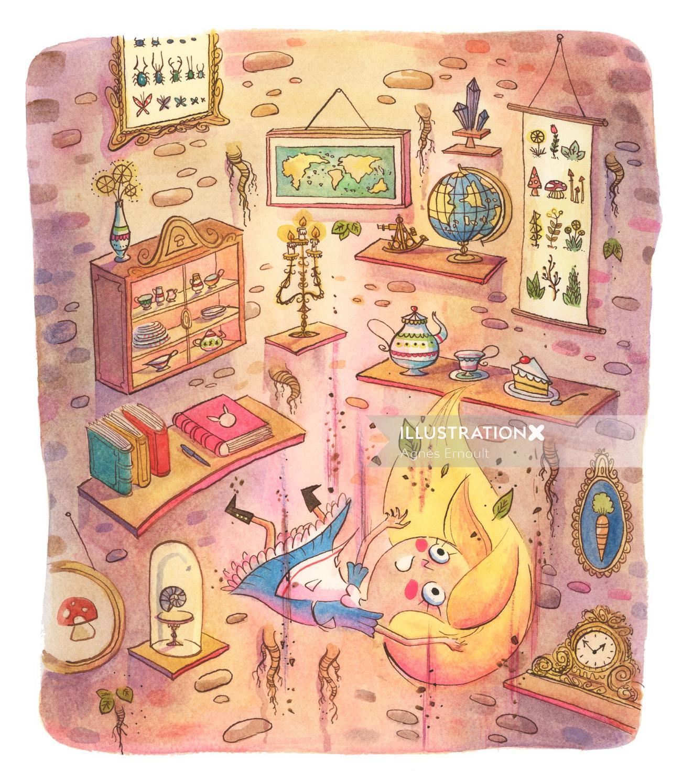 Alice in wonderland watercolor illustration by Agnes Ernoult