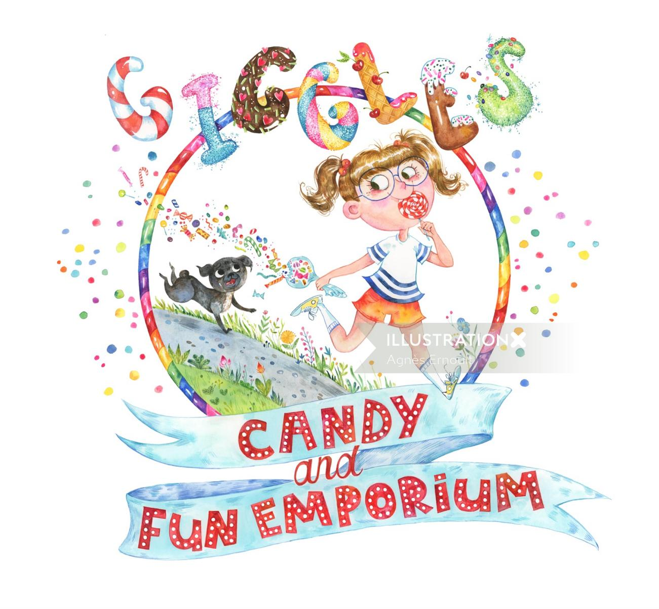watercolor logo for Giggles Candy Truck