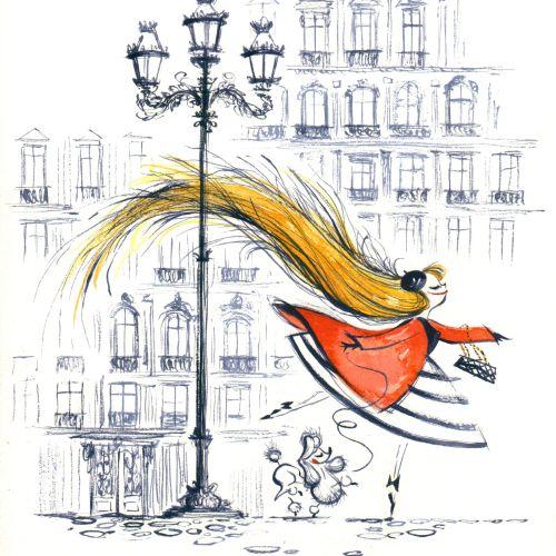 Colour pencil drawing of long yellow hair girl