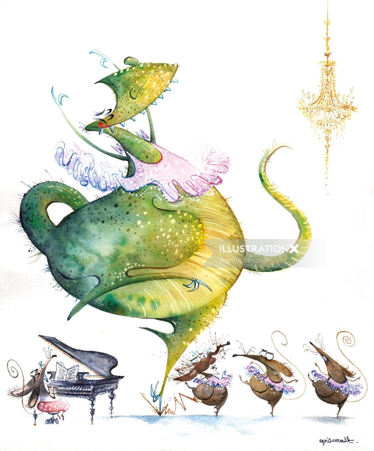 Comic illustration of dancing dragon