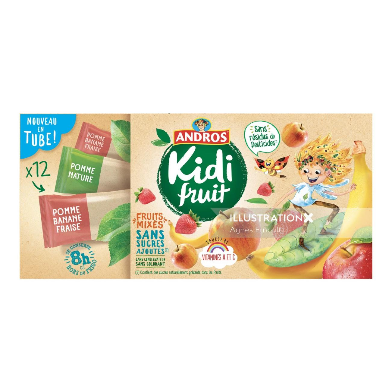 Packaging illustration of fruit chocolate