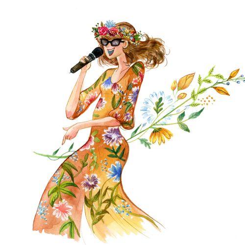 Fashion illustration of female wedding singer floral dress